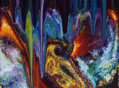 STALACTITES (Painting) przez Catherine WERNETTE A l'intérieur d'une grotte, stalagtites.