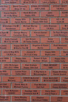 Closer View At Some Of The Fans Bricks At Celtic Park