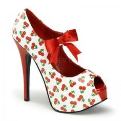 Cherry Tart Teeze White Platform Pump - New at ShoeOodles.com Price: $70.00  All over cherry print pump has a concealed platform that is 1 3/4 inches high and a 5 3/4 inch heel. Satin ribbon ties the Mary Jane style front for extra sass! All man made materials with padded insole and non-skid sole.  #gothic #fashion #steampunk