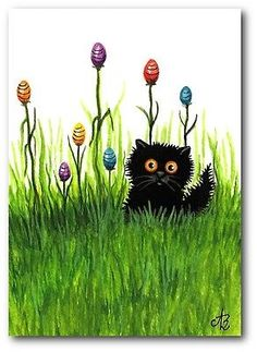 Tiny Black Cat Garden of Easter Eggs -ArT BiHrLe LE Print ACEO