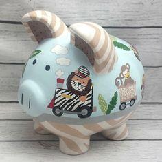 Personalized Piggy bank Safari Express Artisan by Alphadorable