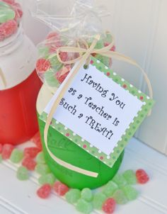 Christmas Teacher Gift Painted Mason Jar