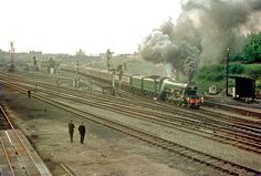 photo 'Flying Scotsman' makes a 'claggy' departure from Norwich Thorpe with the return to Kings Cross of the Norfolkman' on See also & Heritage Railway, Flying Scotsman, Norwich Norfolk, Steam Railway, Liverpool Street, British Rail, History Images, Steamers, Steam Engine