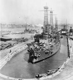 USS Ohio BB-12 in drydock at Mare Island August 10, 1915.