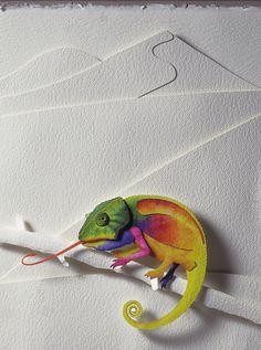 Paper Sculpture - Camaleonte
