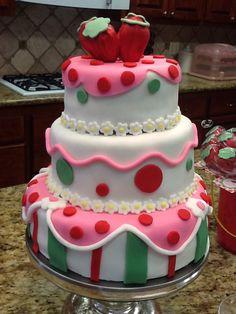 Strawberry fondant cake