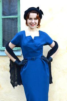 Benzin blau 50er Stil wolle wackeln Kleid Größe 8 von CheriseDesign