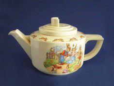 Royal Doulton Bunnykins 'Gardening' Casino Teapot by Barbara Vernon c1950