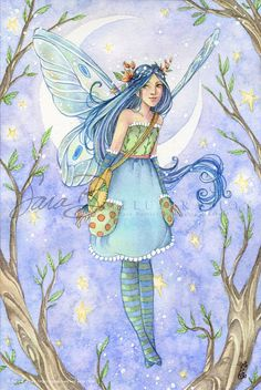 Fairy Art Print Tooth Fairy Small Art Moon and by sarambutcher Dragons, Kobold, Fable, Elves And Fairies, Fairy Pictures, Fairy Coloring, Mystique, Flower Fairies, Small Art