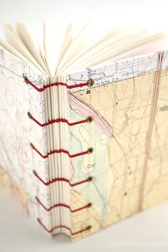 Oregon Map Journal - Coptic Stitch with Exposed Spine Artist Journal, Book Journal, Journals, Oregon Map, Accordion Book, Easy Writing, Bound Book, Paper Book, Japanese Paper