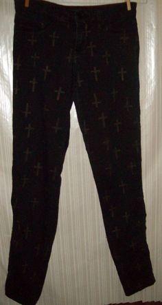 Cello Jeans Black With Crosses Size Juniors 1 #CelloJeans #SlimSkinny