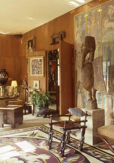 YSL - Francois Halard by Rizzoli International Publications - issuu Southern Style Homes, Vintage Interiors, Art Interiors, Architecture Interiors, Bird Sculpture, Traditional Interior, African Art, African Design, African Safari