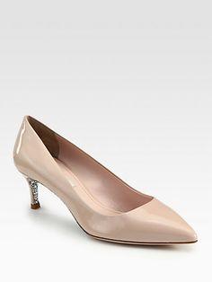 Miu Miu - Patent Leather Glitter Heel Pumps - Saks.com