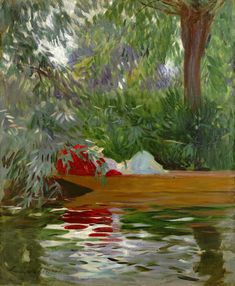 A pop of red!  Under the Willows, 1887 by John Singer Sargent from Crystal Bridges Museum of American Art
