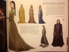 Rivendell Elves costume concepts. I don't appreciate all that classist talk in the fragments...musicians vs courtiers?? Palace?? Courtiers vs servants? Rivendell is not a palace, and I believe that the Rivendell household veers more towards equality than this!