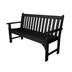 POLYWOOD Vineyard 24-in W x 60.5-in L Black Plastic Patio Bench