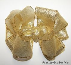 Fancy Gold Lame Metallic Girls Hair Bow by accessoriesbyme on Etsy, $16.99