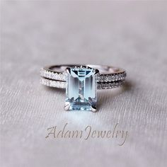 Hey, I found this really awesome Etsy listing at https://www.etsy.com/listing/206625365/custom-aquamarine-ring-set-6x8mm-emerald