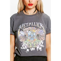 Boohoo Adriana Metallica Washed Out Band T-Shirt | Boohoo ($17) ❤ liked on Polyvore featuring tops, t-shirts, bralette crop top, off the shoulder t shirt, jersey t shirt, crop top and jersey tee