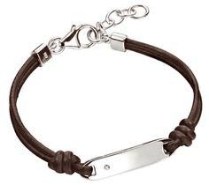 Cute little boy's leather bracelet with dinky diamond.