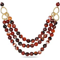 This brilliance necklace is made with round faceted-cut multi dark brown agate gemstones beads set in goldtone findings. This endless necklace measures 120.3cm…