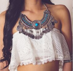 Bohemian style carving statement necklace by MadeByMiKiShop on Etsy