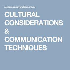 CULTURAL CONSIDERATIONS &  COMMUNICATION TECHNIQUES