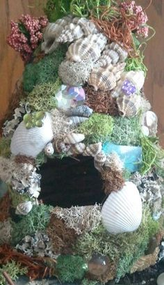 Fairy Garden Fairy House by UPCYKLENEW on Etsy; love the shells and moss together; something to try with my next fairy house Beach Fairy Garden, Fairy Garden Houses, Fairy Gardens, Fairies Garden, Miniature Gardens, Garden Crafts, Garden Art, Garden Design, Garden Ideas