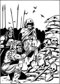 Goblins stack the split skulls of their foes at an altar to Khurgorbaeyag. (Jim Holloway, Dragon No. 63, TSR, July 1982.)