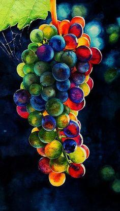 L'art Du Fruit, Fruit Art, Black Background Wallpaper, Wallpaper Backgrounds, Watercolor Flowers, Watercolor Art, Grape Painting, Beautiful Flowers Wallpapers, Fruit Garden