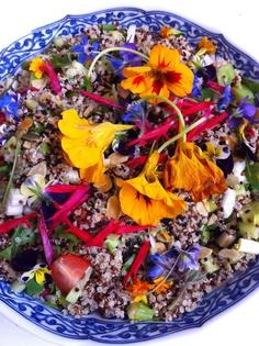 Stella's amazing signature quinoa salad with edible flowers :) Interesting Recipes, Edible Flowers, Quinoa Salad, Dressing Recipe, Food Art, Acai Bowl, Food Photography, Good Food, Friends