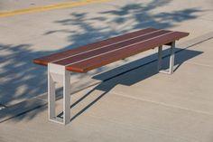 Apex Bench shown with Aluminum Texture powdercoated frame and FSC® 100% Jatoba hardwood slats
