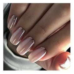 Nude nails with glitter border