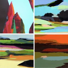 "ABSTRACT LANDSCAPES OF KATHERINE SANDOZ.""this reminds me of a picture book I had as a kid where each page was a color layer and the picture changed as you turned the pages/removed the layers. Landscape Art, Landscape Paintings, Landscape Photography, Guache, Wow Art, Art Graphique, Painting Inspiration, Art Lessons, Illustrations"