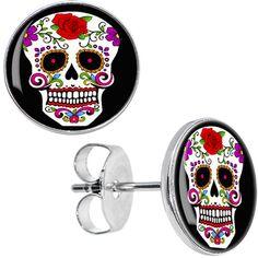 White Sugar Skull Stud Earrings #bodycandy #sugarskull #earrings $8.99