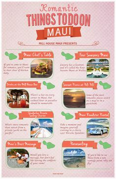 Maui is definitely for lovers, and this list is your guide to all things romantic! From the perfect cocktail to a picture worthy sunset, paradise has never been so dreamy. These romantic Maui activities are guaranteed to make your exotic vacation a perf Trip To Maui, Hawaii Vacation, Maui Hawaii, Vacation Food, Lahaina Maui, Greece Vacation, Vacation Resorts, Vacation Outfits, Vacation Spots