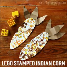 Lego stamped indian corn craft for kids.