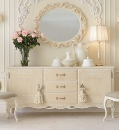 Reproduction High End Italian Ivory Sideboard