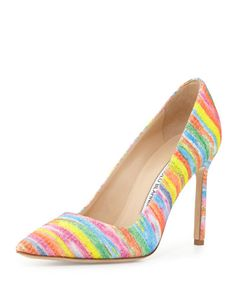 BB Fabric Pump, Rainbow by Manolo Blahnik at Neiman Marcus. Pointed Toe Pumps, High Heel Pumps, Pump Shoes, Stiletto Heels, Shoes Heels, Slip On Pumps, Slip On Shoes, Zapatillas Slip On, Rainbow Heels