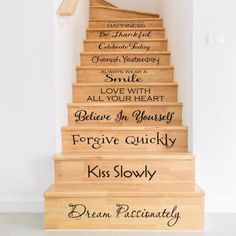 """Stair decals with inspirational words to inspire you everyday. These decals are intended for stairs no smaller than 6"""" tall..."""