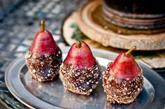 Cacao Covered Pears | dairy free, peanut free, egg free (so paleo), and vegan | LOVE these- really easy to make