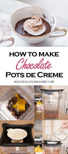 Want an easy, no-bake dessert for two? This Chocolate Pots de Creme fits the bill! Super rich, and super easy to make with only five ingredients in your blender! Cheesecake Oreo, Cheesecake Recipes, Easy Gluten Free Desserts, Easy Desserts, Pavlova, Chocolate Pots, Chocolate Desserts, Traditional Easter Desserts, Sauce Creme