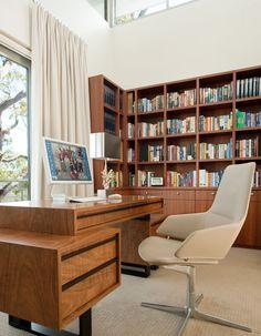 A custom designed desk to emulate the rock platforms of this home's Australian bush view.