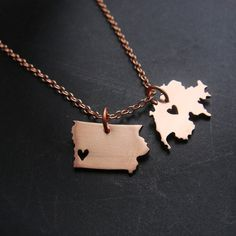 Double State or Country Pendant Necklace in Copper by sprout1world, $38.00 #state #pendant #country #double #mini #micro #copper #necklace #sprouts #sprout1world