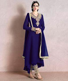 Buy Blue Georgette Designer Anarkali Suit 74441 online at lowest price from huge…