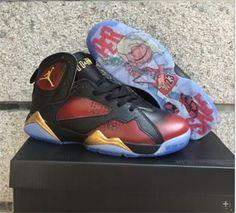 735a37b6a82831 Jordan 7 red black gold shoes Cheap Jordan Shoes