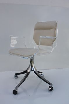 stunning 1960u0027s lucite desk chair on chrome swivel base - Lucite Desk