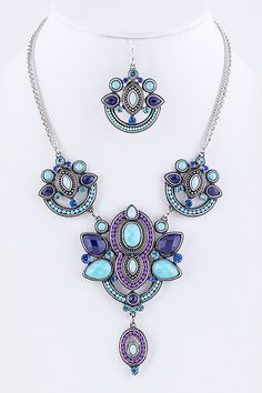 """- Necklace 16"""" + extension - Earrings 2"""" drop - Matching set"""