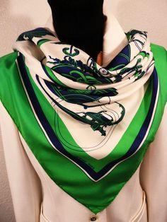Authentic Vintage Hermes Silk Scarf Ex Libris Hugo Grygkar 1946 RARE Green and Blue