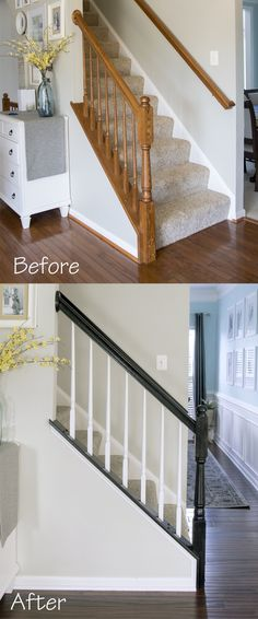 The easiest way to paint an old oak banister including railing and balusters. No priming, No chipping, and I love the classic look of black and white. The easiest way to paint an old oak banister including railing and balusters. Black Stair Railing, Stair Banister, White Staircase, Banisters, Staircase Design, Painted Banister, White Banister, Replace Stair Railing, Black Painted Stairs